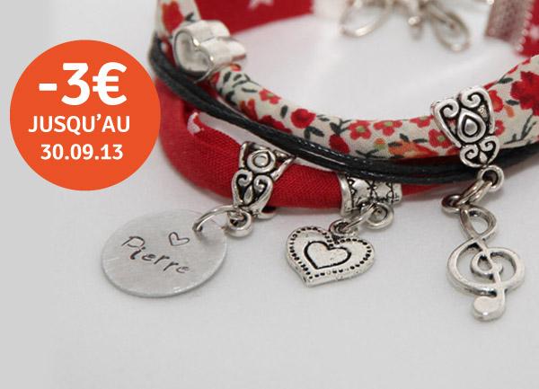 """Promotion de septembre sur le bracelet personnalisé avec médaille gravée """"Oh Mine"""" de la créatrice Ma Peste Adorée"""