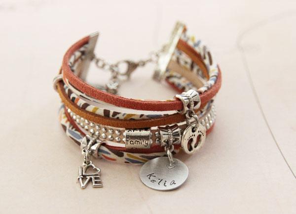 Bracelets gravés en Liberty et cordons suédine