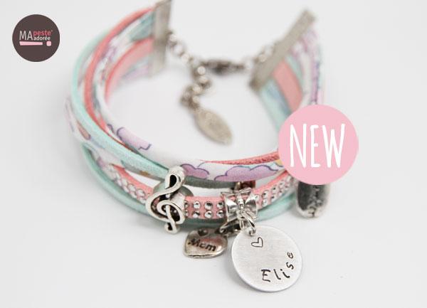 bracelet personnalisé en liberty betsy céladon