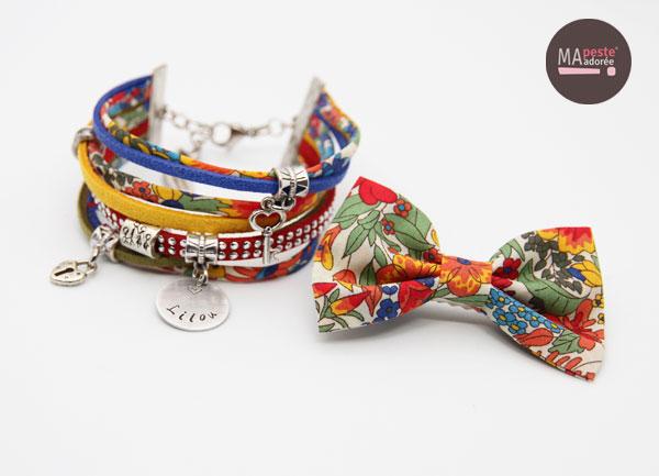 Parures bracelet personnalisé et barrettes en liberty