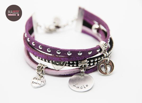 bracelet personnalisé prénom violet