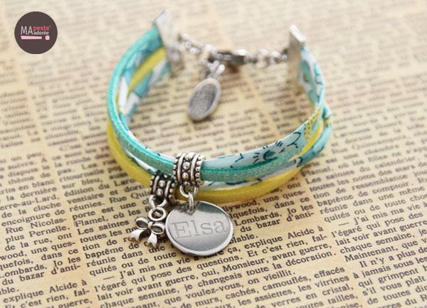 Bracelets pour enfants avec médaille gravée au prénom de l'enfant et en Liberty